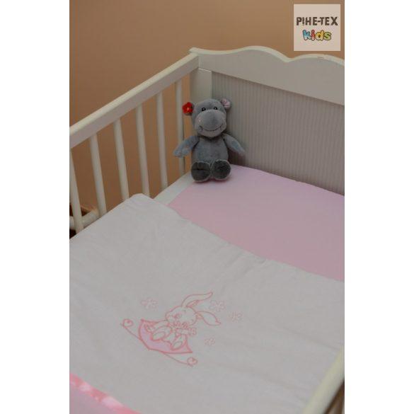 """Rózsaszín, """"hímzett nyuszis"""" 2 részes babaágynemű szett (99)"""