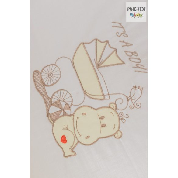 """Vaníliaszín, """"hímzett vizilovas"""" 2 részes babaágynemű szett (98)"""