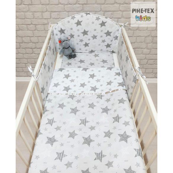 Csíkos Csillagok, fehér-szürke- 4 részes babaágynemű szett (121/F-Sz)