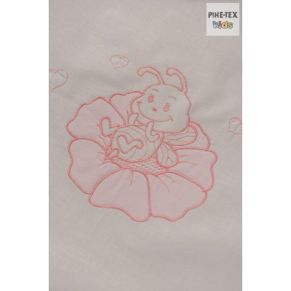 """Rózsaszín, """"hímzett méhecskés"""" 2 részes babaágynemű szett (99)"""