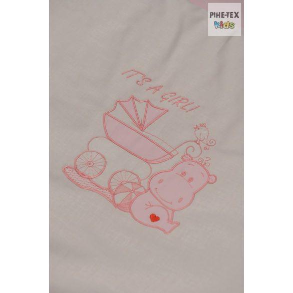 """Rózsaszín, """"hímzett vizilovas"""" 2 részes babaágynemű szett (99)"""
