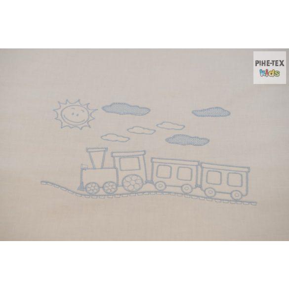 Babakék színű pöttyös hímzett vonatos 3 részes babaágynemű garnitúra