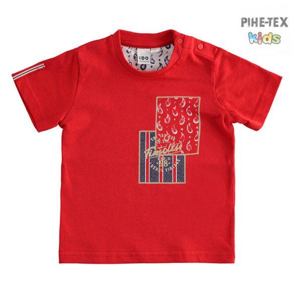 iDO fiú, piros, rövid ujjú póló, nyomott mintával (J679/00-2256)