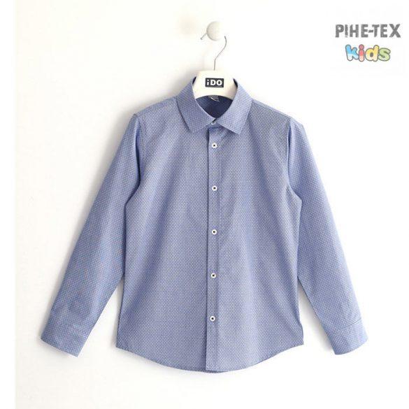 iDO fiú, apró mintás, kék, hosszú ujjú ing (K712/00-3614)