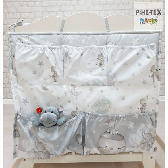 Bébi elefánt, szürke 6 részes babaágynemű szett (582/Sz) (4 részes, zsebes tároló, babafészek)