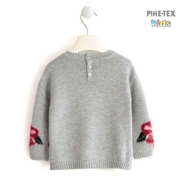 iDO lány, szürke, virág mintás, kötött pulóver (K621/00-8992)