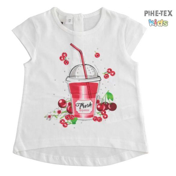 iDO lány, fehér, rövid ujjú póló, nyomott mintával (J760/00-0113)