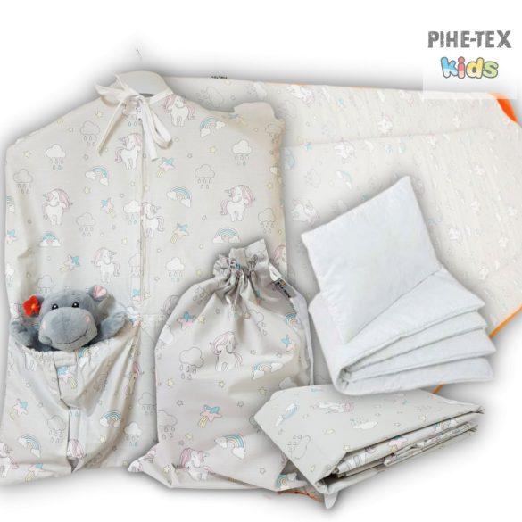 Szürke unikornis, 5 részes ovis kezdőcsomag (2 részes fehér, ovis huzat, ovis zsák, tornazsák, óvodai derékalj) + ajándék ovis törölköző