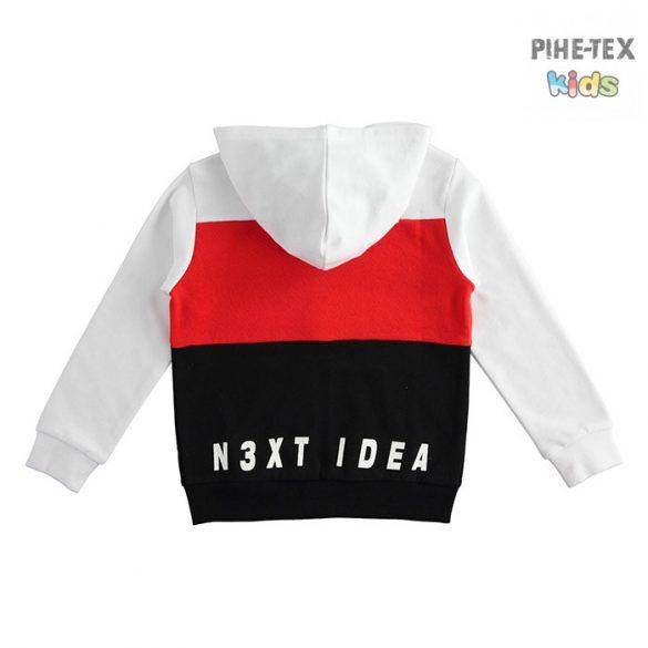 iDO fiú, piros-fehér-fekete, kapucnis pulóver, nyomott mintával, Wise felirattal (J403/00-0113)