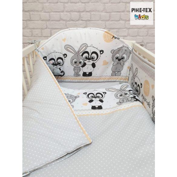 Cuki Állatok, szürke 5 részes babágynemű szett (576/Sz) (4 részes, zsebes tároló)