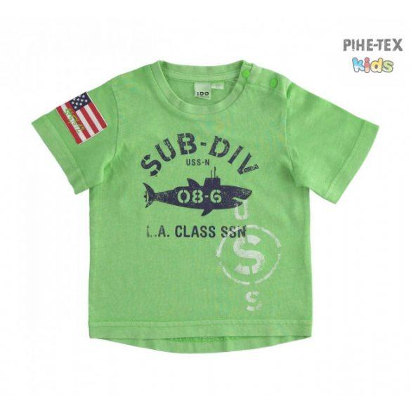 iDO fiú, zöld, rövid ujjú póló, nyomott felirattal (J682/00-5134)