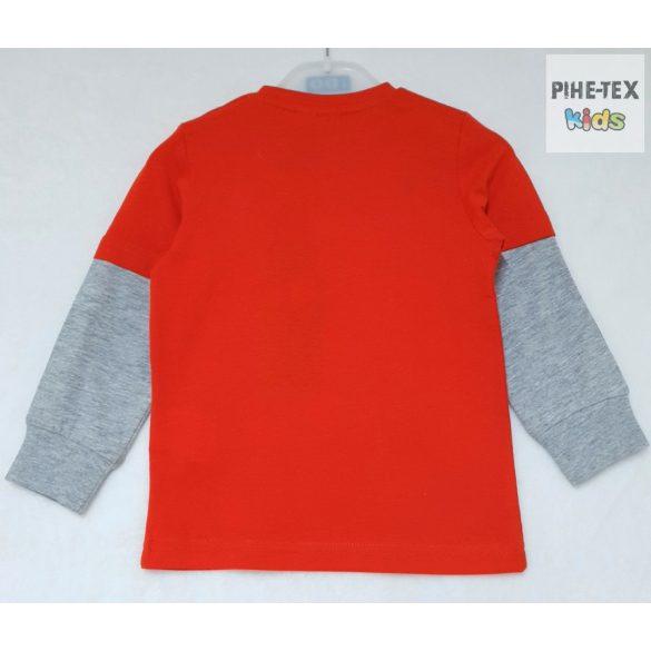 iDO fiú, piros-szürke, hosszú ujjú felső, nyomott mintával (J222/00-2253)