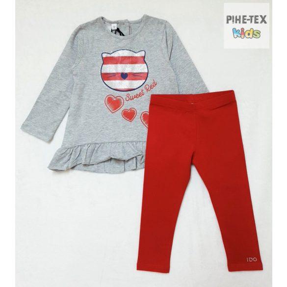 iDO 2 részes lány, szürke-piros szett, nadrággal (K674/00-8016)