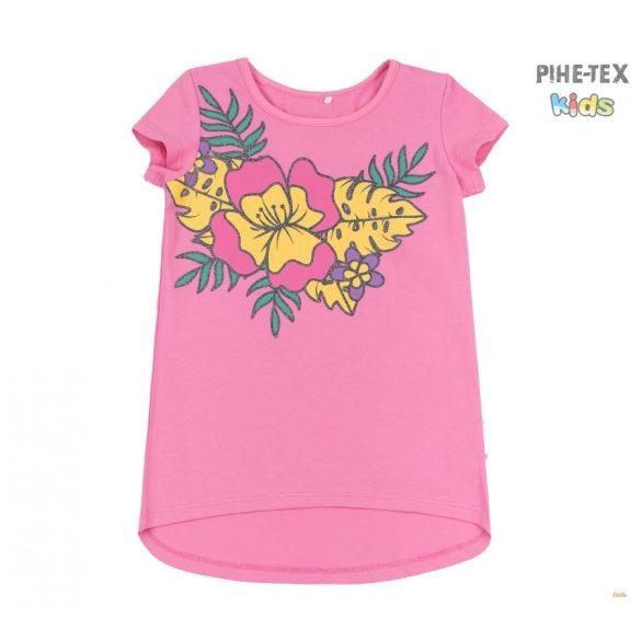 Bembi 2 részes lány szett, sötétrózsaszín-lila, virág mintás, térdnadrággal (KS631)