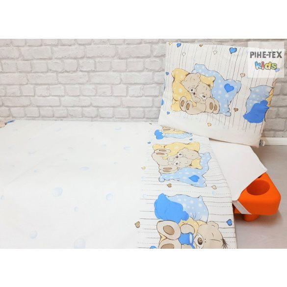 Medvebocsok, kék, gyermek-, ovis ágynemű huzat (573/K)