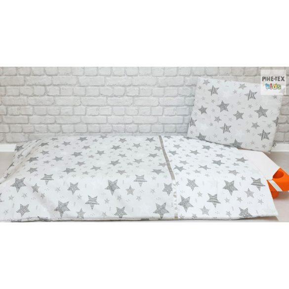 Csíkos Csillagok fehér-szürke, gyermek-, ovis ágynemű (121/F-Sz)