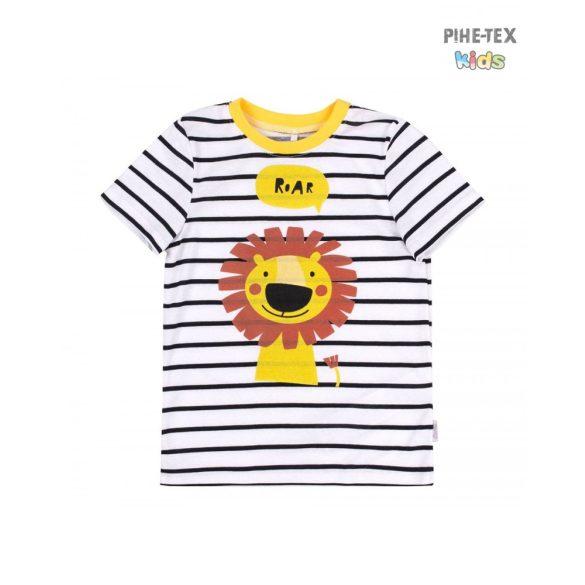 Bembi fehér-sárga, fiú póló, oroszlán mintával  (FB692)