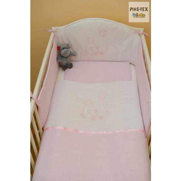 Rózsaszín, cumis maci 3 részes babaágynemű szett (99)