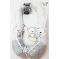 Holdon ülő macik,Szürke-babafészek (562/Sz)