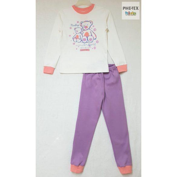 Bembi 2 részes lány pizsama szett, rózsaszín-lila-fehér, maci mintával (PG39)