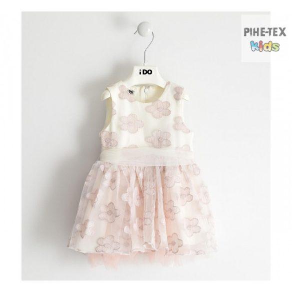 iDO lány, fehér-rózsaszín, virág mintás, alkalmi ruha (J295/00-8146)