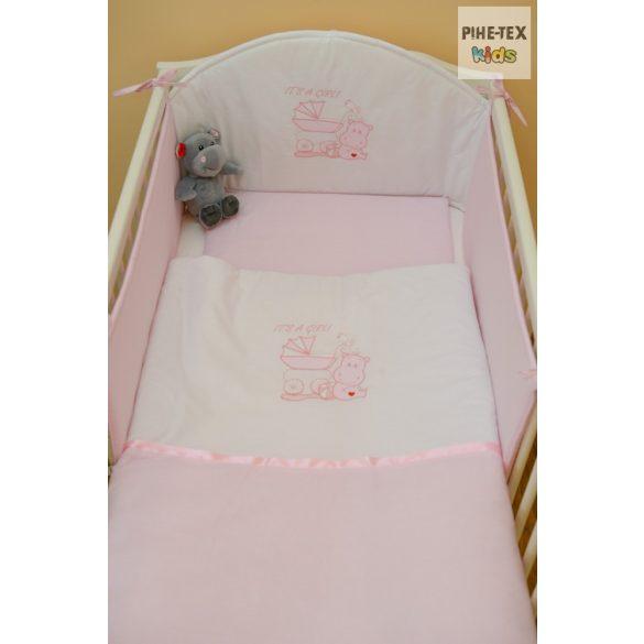 Rózsaszín, vizilovas 3 részes babaágynemű szett (99)