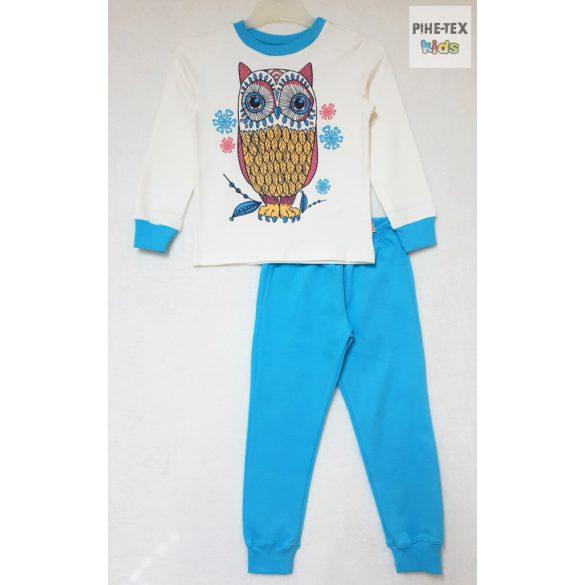 Bembi 2 részes lány pizsama szett, türkizkék-sárga, bagoly mintával (PG39)