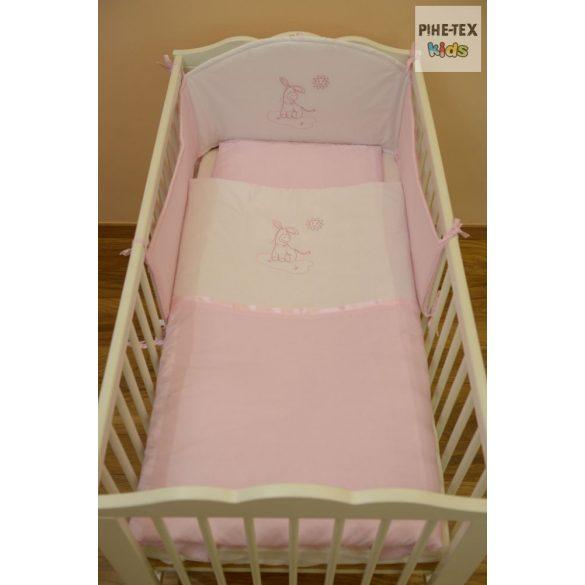Rózsaszín, hímzett csacsis 3 részes babaágynemű szett (99)