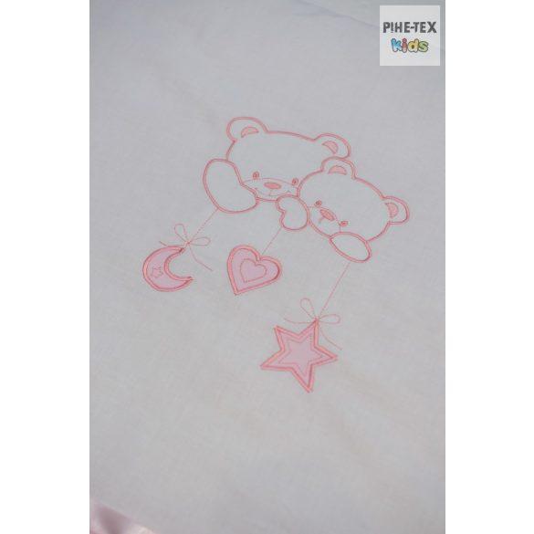 """Rózsaszín, """"hímzett függős macik"""" 2 részes babaágynemű szett (99)"""