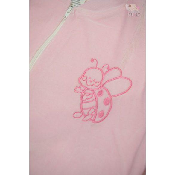 Hosszú ujjú, rózsaszín, plüss hálózsák, hímzett katica mintával 86-os méret