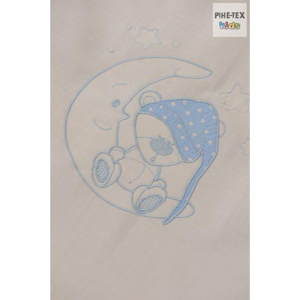 Kék pöttyös, hímzett sapkás maci, 2 részes babaágynemű szett (114/K)