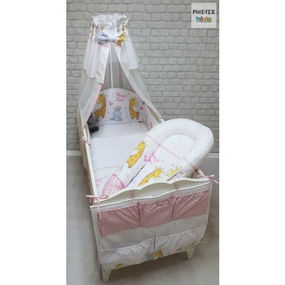 Sweet Time, rózsa 6 részes babaágynemű szett (595/R) (4 részes, zsebes tároló, babafészek)
