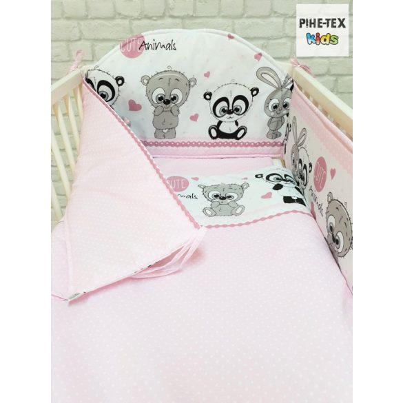 Cuki Állatok, rózsa 6 részes babaágynemű szett (576/R) (4 részes, zsebes tároló, babafészek)