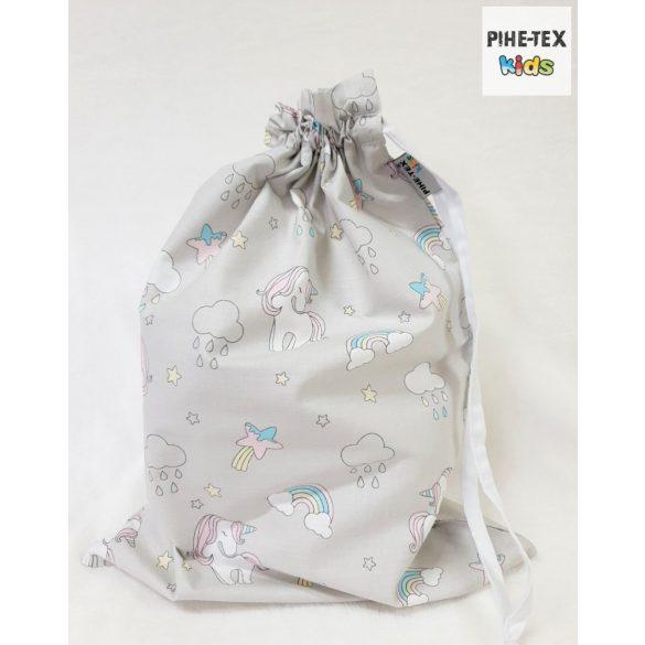 Szürke unikornis, 4 részes ovis kezdőcsomag (2 részes mintás, ovis zsák, tornazsák, vízhatlan matracvédő lepedő) + ajándék ovis törölköző