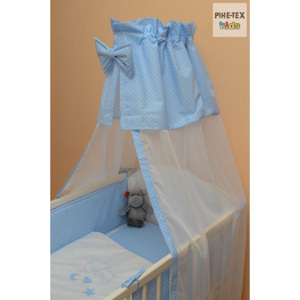Kék fehér pöttyös, hímzett függős macik mintás 4 részes babaágynemű szett