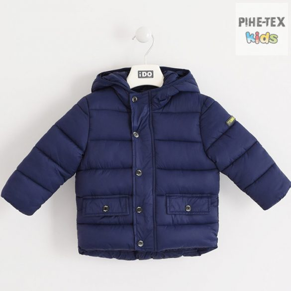 iDO fiú, sötétkék, kapucnis, steppelt kabát (K503/00-3854)