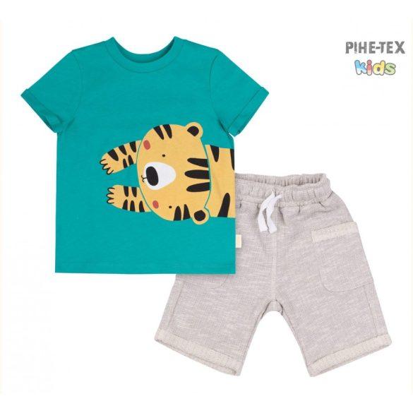 Bembi 2 részes fiú szett, zöld-bézs, tigris mintával, rövidnadrággal (KS611)