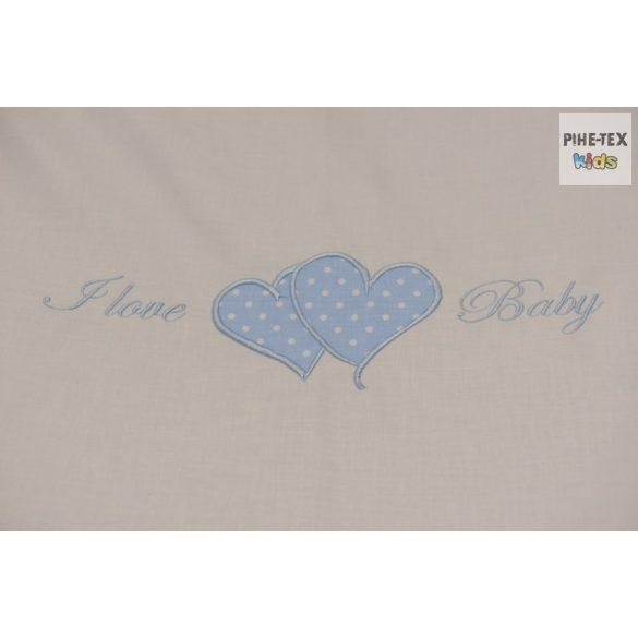 Kék fehér pöttyös, hímzett I love baby felirattal, szivecskékkel mintás 4 részes babaágynemű szett