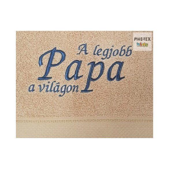 Hímzett feliratos törölköző (A legjobb papa a világon)