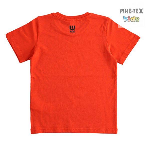 iDO fiú, piros, rövid ujjú, nyomott mintás póló (J387/00-2235)