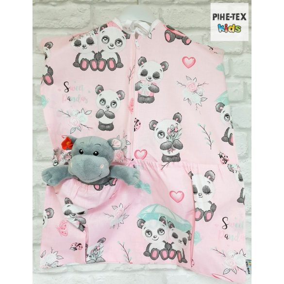 Sweet Panda, rózsa, 4 részes ovis kezdőcsomag (2 részes mintás, ovis zsák, tornazsák, vízhatlan matracvédő lepedő) + ajándék ovis törölköző