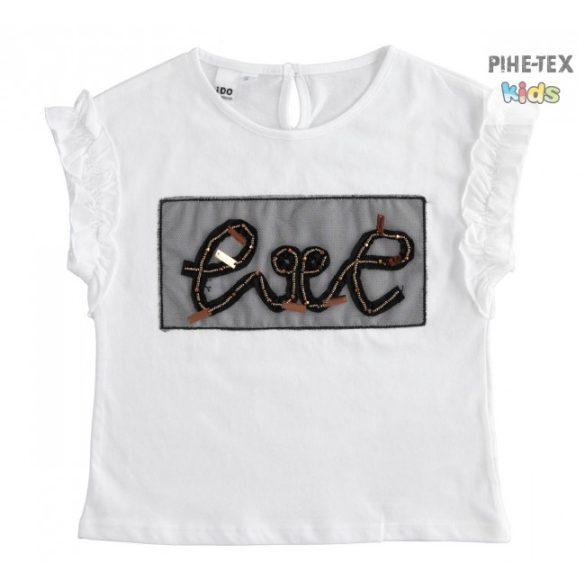 iDO lány, fehér, rövid ujjú póló, hímzett mintával (J497/00-0113)