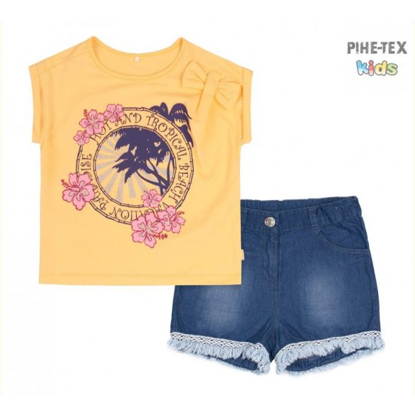 Bembi 2 részes lány szett, sárga, virág mintás, farmer rövidnadrággal (KS633)