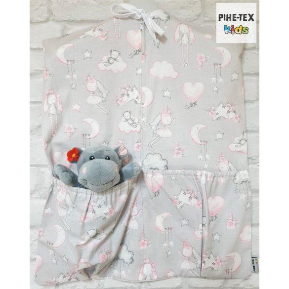 Rózsás nyuszicsalád, szürke, 5 részes ovis kezdőcsomag (2 részes fehér, ovis huzat, ovis zsák, tornazsák, vízhatlan matracvédő lepedő) + ajándék ovis törölköző