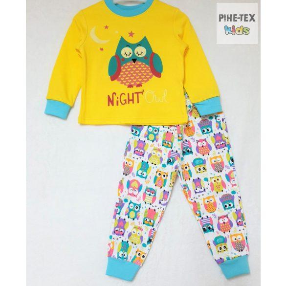 Bembi 2 részes lány pizsama szett, sárga, bagoly mintával (PG40)