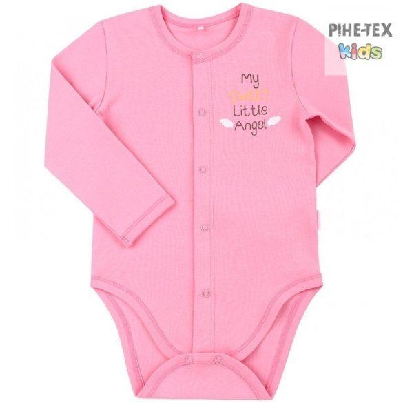 Bembi rózsaszín, hosszú ujjú body, my sweet little angel felirattal (BD59a)