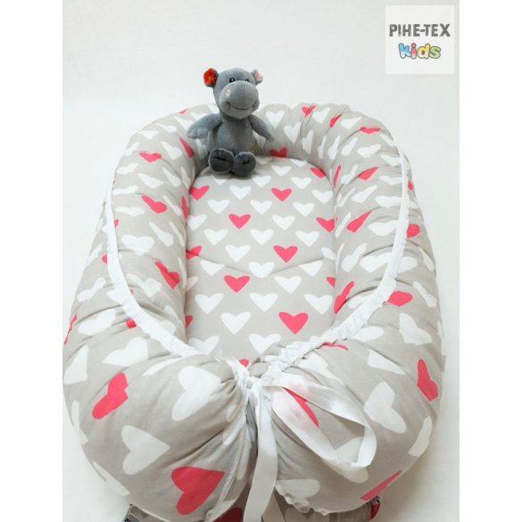 Bézs-pink szívecskék, babafészek (122)