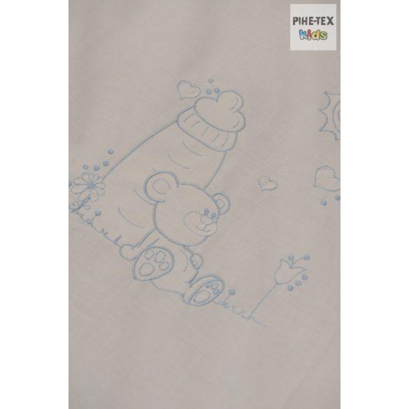 Babakék színű pöttyös hímzett cumis maci 3 részes babaágynemű garnitúra