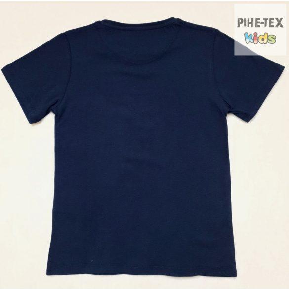 iDO fiú, sötétkék, rövid ujjú póló, nyomott mintával (J810/00-3547)
