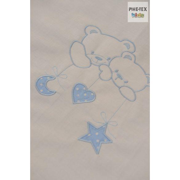 Kék pöttyös, hímzett függős macik, 2 részes babaágynemű szett (114/K)